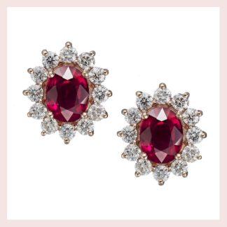 Ruby & Diamond Earrings in Gold