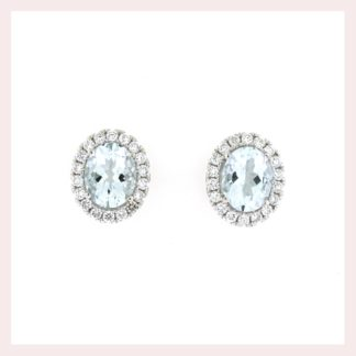 Aqua Earrings with a Diamond Halo Gold