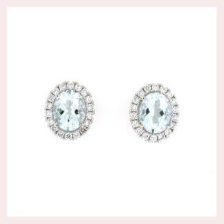 Aqua Earrings with a Diamond Halo Gold