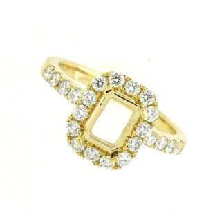 Semi Mount with Diamonds in 14KT Yellow Gold