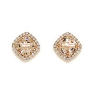Cushion Morganite & Diamond Earrings in 14KT Rose Gold