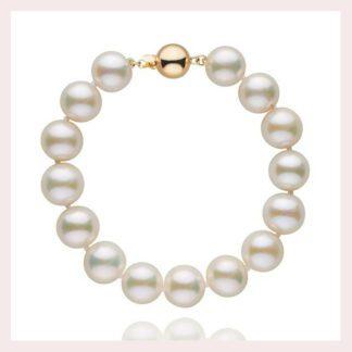 10mm White Pearl Bracelet in 14KT Gold