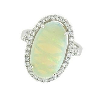 Australian Opal & Diamond Ring in 14KT Gold