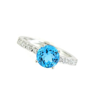 Blue Topaz & Diamond Ring in 10KT White Gold