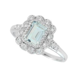 Aquamarine & Diamond Ring in 14KT Gold