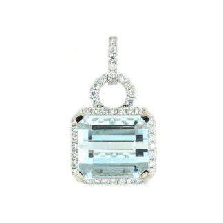 9792Q Aquamarine & Diamond Pendant in 14KT White Gold