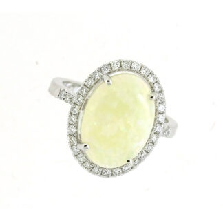 Oval Opal & Diamond Ring in 14KT White Gold