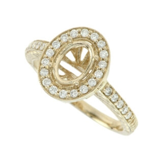 Semimount with a Diamond Halo Set in 14KT Yellow Gold