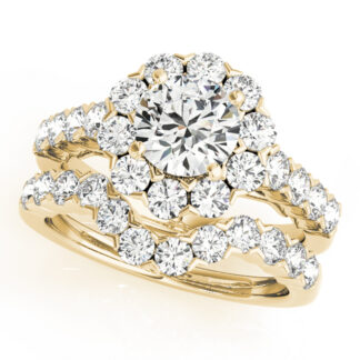 Wedding Set with Diamonds Set in 14KT Yellow Gold