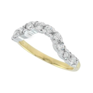 Wedding Band with Diamonds Set in 14KT Yellow Gold