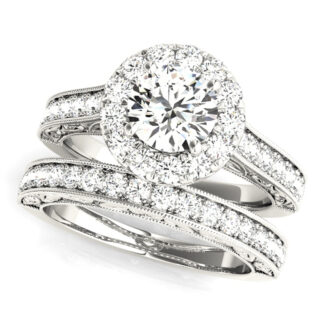 Wedding Set with Diamonds in 14KT White Gold