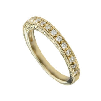 Wedding Band with Diamonds in 14KT Gold