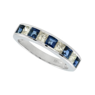 Princes Cut Sapphire & Diamond Ring in 14KT Gold