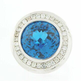 Blue Topaz & Diamond Halo Ring in 14KT Gold