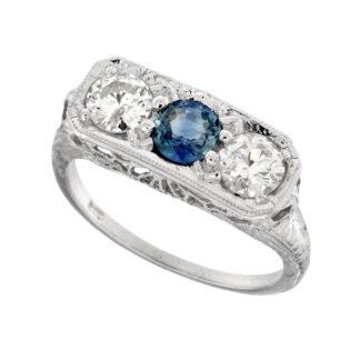 Sapphire & Diamond Ring in 14KT White Gold