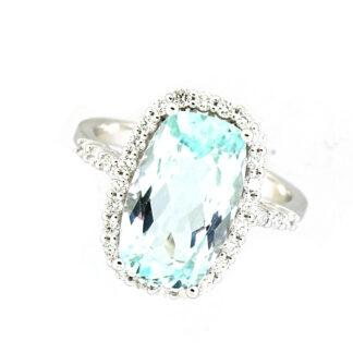 Aquamarine & Diamond Halo Ring in 14KT Gold