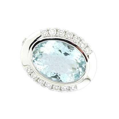 Unique Aquamarine & Diamond Ring in 14KT White Gold