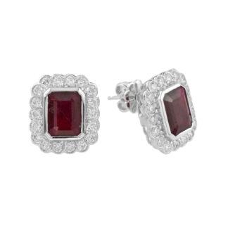 Ruby & Diamond Earrings Set in 14KT White Gold