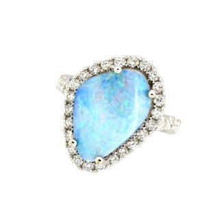 Free Form Opal & Diamond Ring in 14KT White Gold