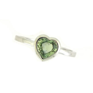 Green Sapphire Heart Ring in 10KT White Gold