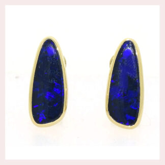 Black Opal Earrings in 14KT Yellow Gold