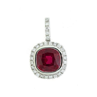 Cushion Ruby & Diamond Pendant in 10KIT White Gold