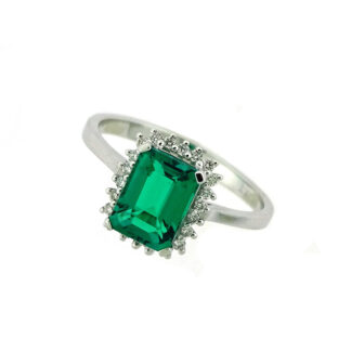 Emerald & Diamond Ring in 10KT White Gold