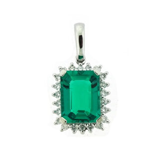 Emerald & Diamond Pendant in 10KT White Gold