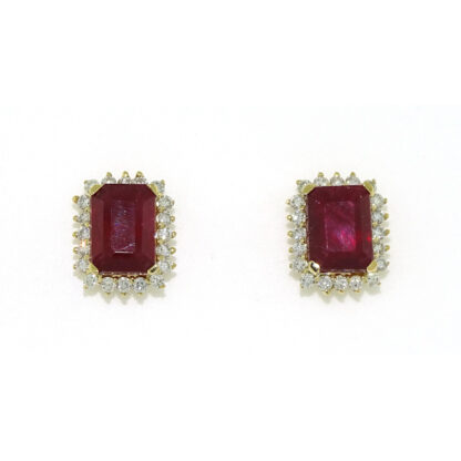 Ruby And Diamond Earrings in 14KT Yellow Gold
