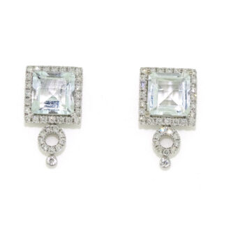 Aquamarine & Diamond Earrings in 10KT White Gold