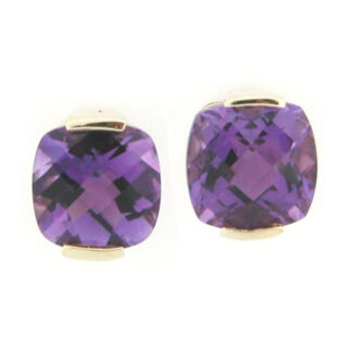 Amethyst Stud Earrings in 14KT Yellow Gold