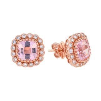 Morganite & Diamond Halo Earrings in 14KT Rose Gold
