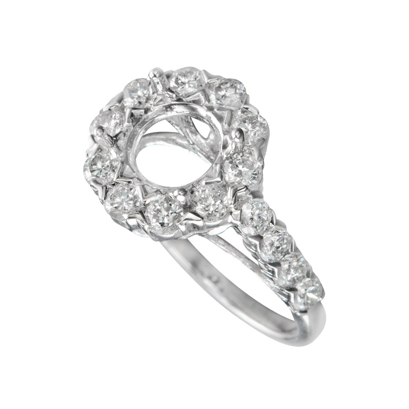 Engagement ring with Diamonds Set in 14KT White Gold