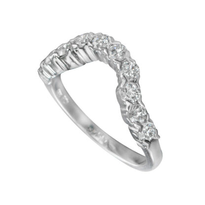 Wedding Band with Diamonds Set in 14KT White Gold