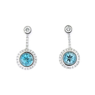 Blue Zircon & Diamond Dangle Earrings in 14KT White Gold