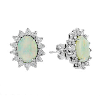 224420O Opal & Diamond Earrings in 14KT White Gold