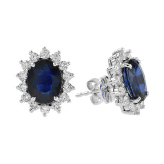 224420S Unique Sapphire & Diamond Earrings in 14KT White Gold