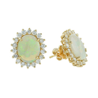 224620O Unique Opal and Diamond Earring in 14KT Yellow Gold