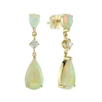 2603O Dangle Opal & Diamond Earrings in 14KT Yellow Gold