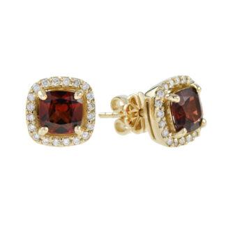 44661G Classic Garnet & Diamond Earrings in 10KT Gold
