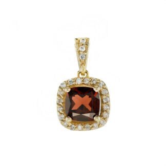44662G Classic Garnet & Diamond Pendant in 10KT Gold
