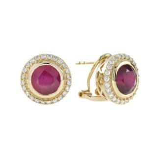 44891R Classic Ruby & Diamond Earrings in 14KT Yellow Gold