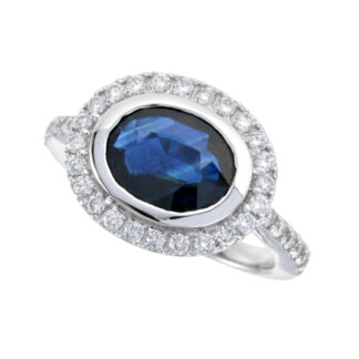 4367S Classic Sapphire & Diamond Halo Ring in 14KT White Gold