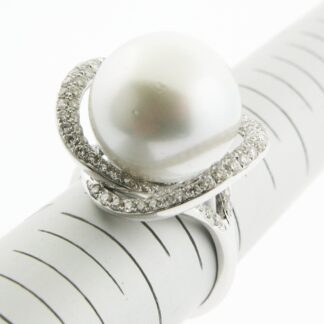 863912 South Seas Pearl & Diamond Ring in 14KT White Gold