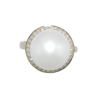 905717SS South Seas Pearl & Diamond Ring in 14KT Gold