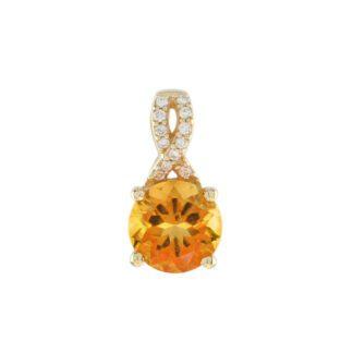 0072C Citrine & Diamond Pendant in 10KT Yellow Gold