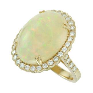4373O Australian Opal & Diamond Halo Ring in 14KT Yellow Gold