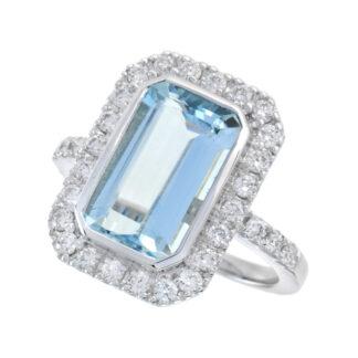 44653Q Unique Aquamarine & Diamond Ring in 14KT White Gold