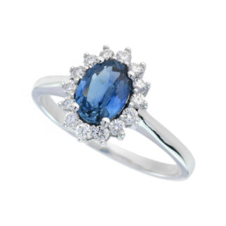 4652S Natural Sapphire & Diamond Ring in 14KT White Gold