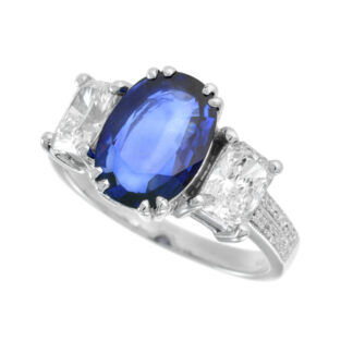 4723S Natural Sapphire & Diamond Ring in 14KT White Gold